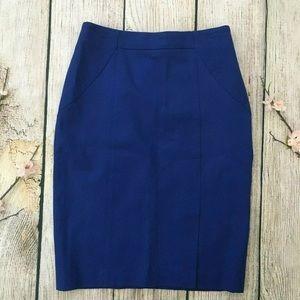 NWT blue BANANA REPUBLIC stretch pencil skirt 0P